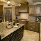 Five piece wood with custom range hood